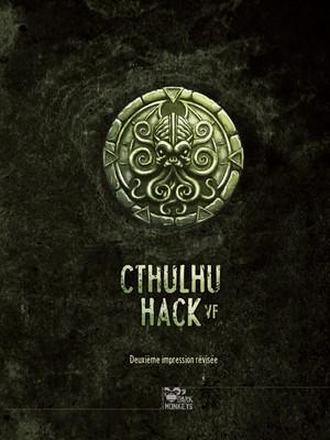 Couverture du livre de base Cthulhu Hack VF (2ème édition). Au milieu, un médaillon circulaire dessiné représente une tête de Cthulhu.