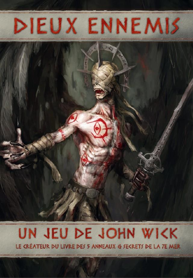 Couverture du livre de base Dieux Ennemis, représentant l'un des 4 dieux ennemis : un homme ailé, maigre, au visage masqué, l'épée à la main, couvert de tatouages rouges et de bandelettes, et aux mains griffues.