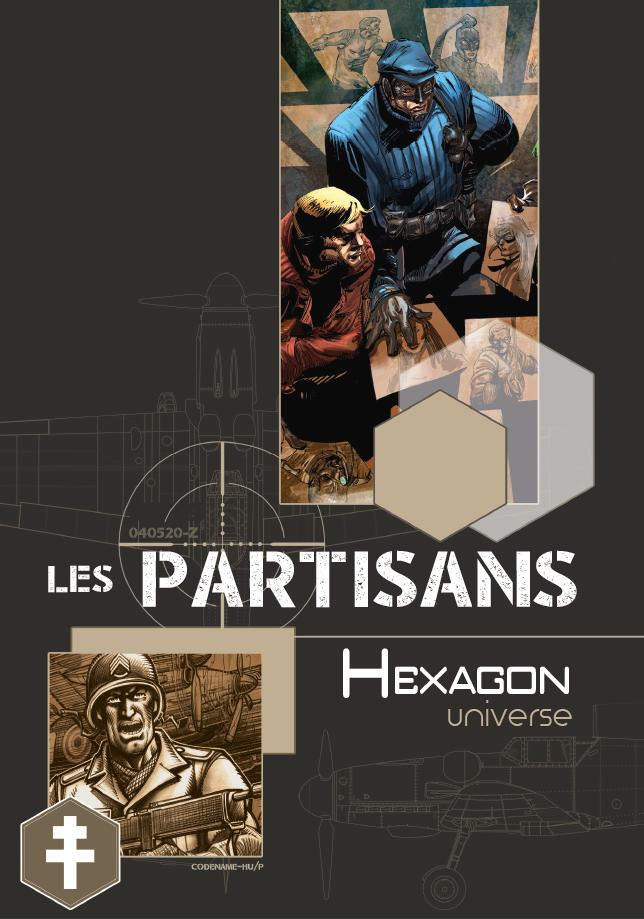 Couverture du livre de base Hexagon Universe. Sur un fond marron, plusieurs illustrations en couleur découpent comme des cases, représentant le super-héros Garde Républicain et des résistants.