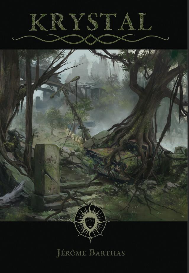Couverture du livre de base Krystal, représentant un paysage des terres ravagées, des arbres noueux ayant poussé sur des vestige de la notre civilisation.
