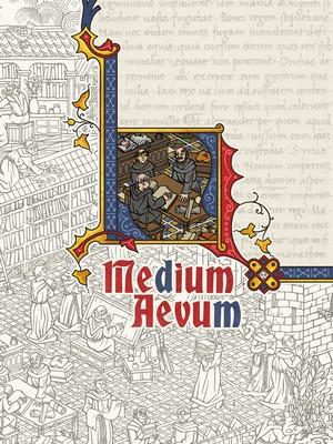 Couverture du livre de base Medium Aevum. Reprenant un style de parchemin médiéval enluminé, la couverture présente une illustration centrale colorée type enluminure, représentant des moines copistes.