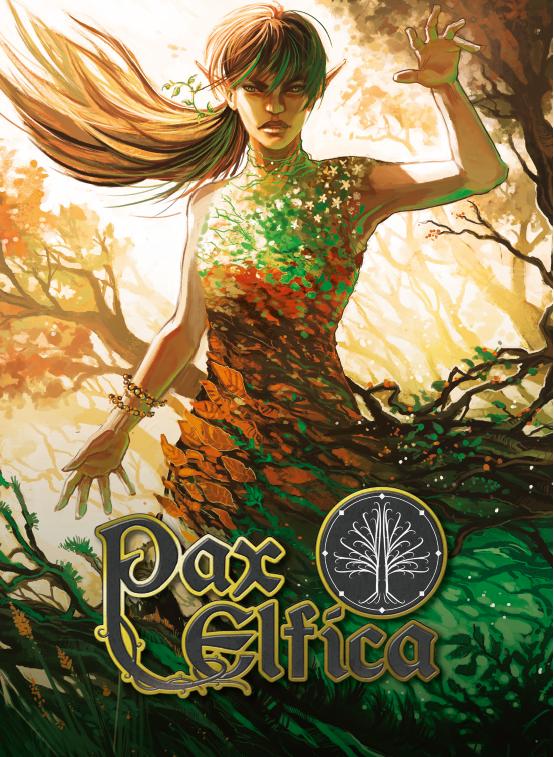 Couverture du livre de base Pax Elfica. L'illustration représente une elfe vêtue de feuilles se fondre dans le décor naturel, levant la main d'un air menaçant.